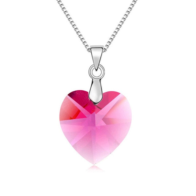 Crystal Necklace & Heart Pendant