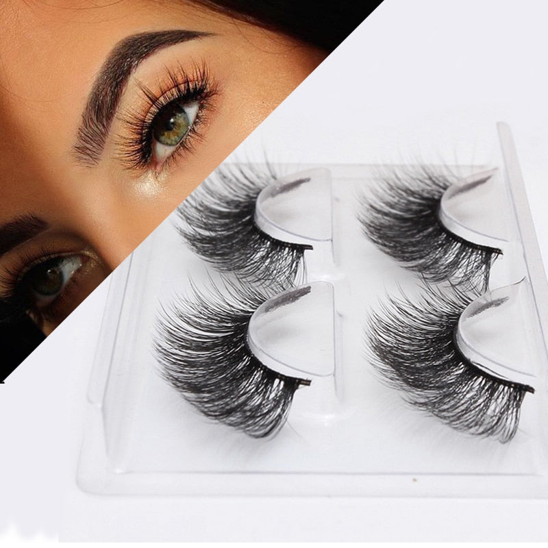 2 Pairs Thick False Eyelashes