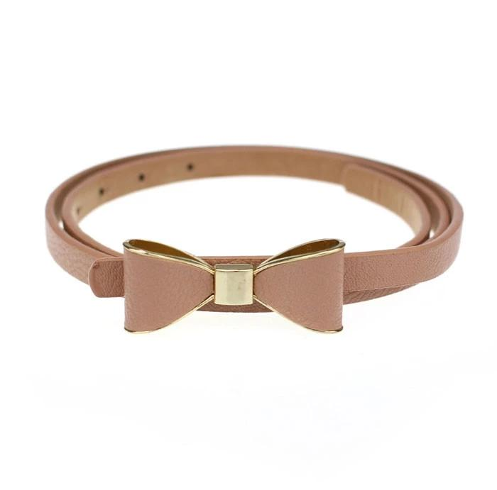 PU Leather Women's Skinny Butterfly Bow Waist Belt