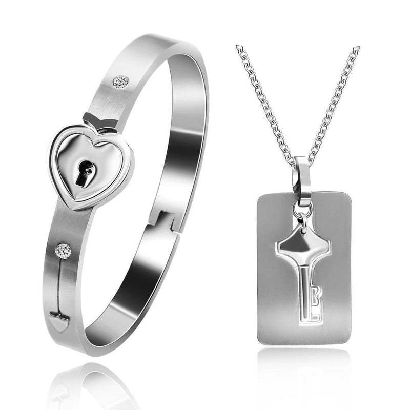 Stainless Steel Lock and Key Necklace and Bracelet