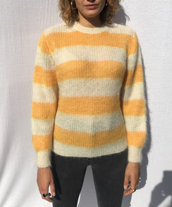 STRIPED CREWNECK MOHAIR SWEATER