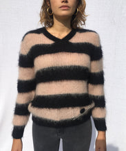 Load image into Gallery viewer, STRIPED V-NECK MOHAIR SWEATER