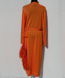 LONG CARDIGAN WITH FEATHER DETAIL