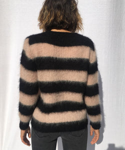 STRIPED V-NECK MOHAIR SWEATER