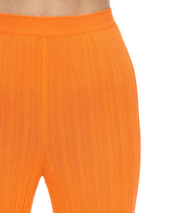 ORANGE KNITTED PLISSE' PANTS
