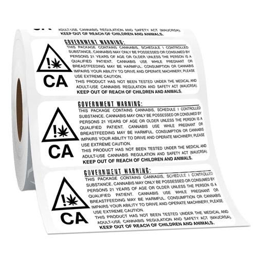 California RX Medical Compliant Government Warning Label - (1000 units) - CORONA CASH AND CARRY