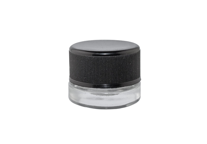 Clear Glass_Child Resistant Jars_5ml_Black Lid - (504 units) - CORONA CASH AND CARRY