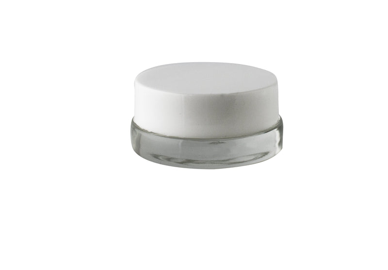 Low Profile Glass Jars 7ml with White Lid - (450 units) - CORONA CASH AND CARRY