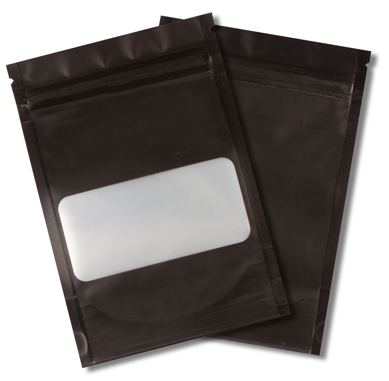 1/8 OZ Mylar Bags-11, Black / Black with Window - (100 units) - CORONA CASH AND CARRY