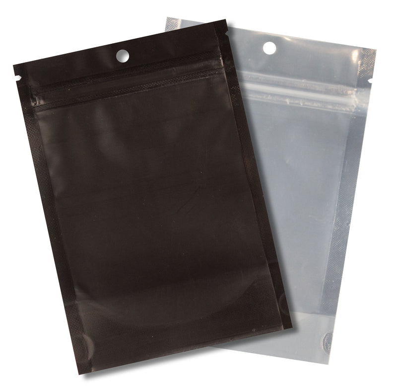 1/4 OZ Mylar Bags-12, Black / Clear (100 units) - CORONA CASH AND CARRY