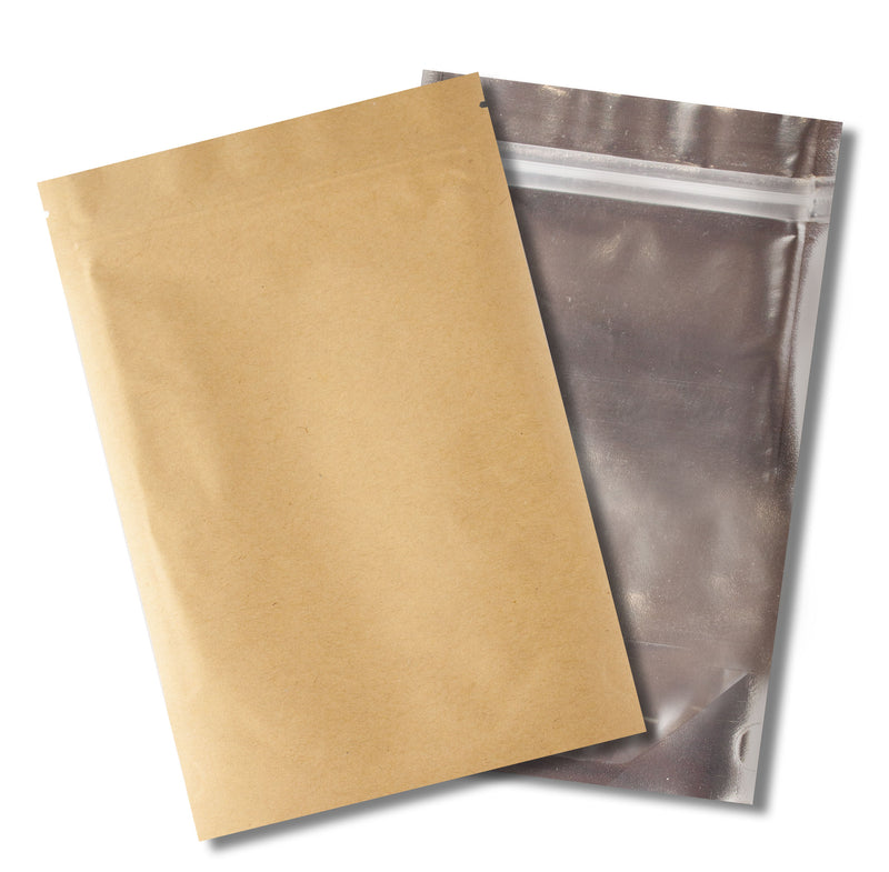 1/4 OZ Mylar Bags-23, Brown Kraft / Clear - (100 units) - CORONA CASH AND CARRY