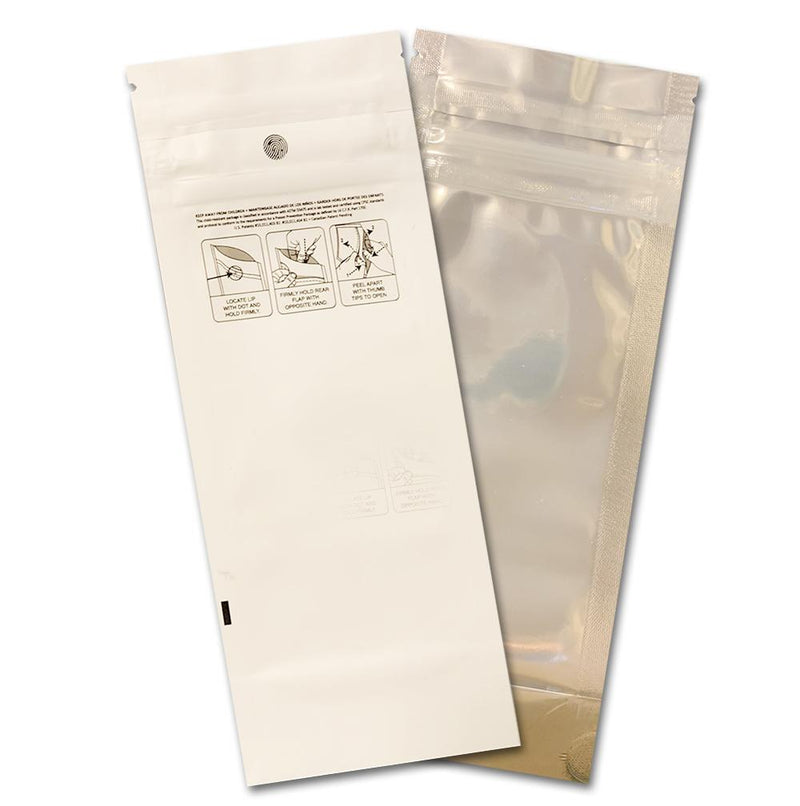 Pre-roll Mylar Bags-18, White / clear (100 units) - CORONA CASH AND CARRY