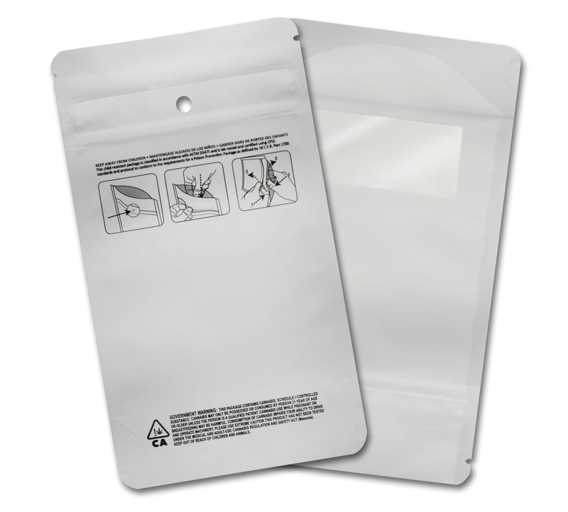 1/4 OZ Mylar Bags-21, White / White - (100 units) - CORONA CASH AND CARRY