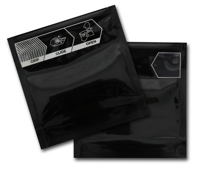 1/8 OZ Exit Mylar Bags-27, Black / Black - (100 units) - CORONA CASH AND CARRY
