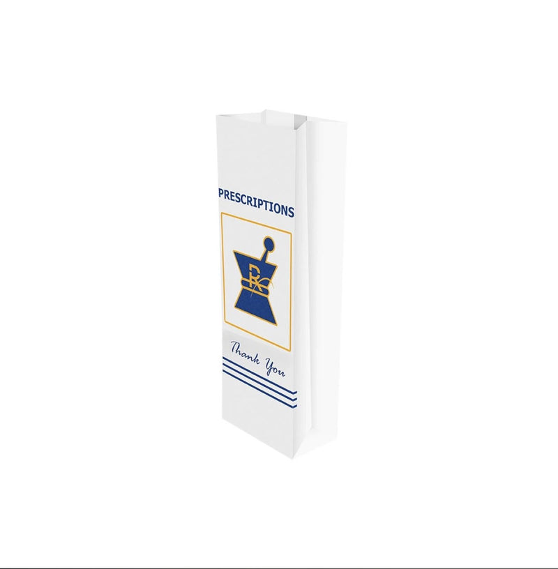 "Kraft Pharmacy Prescription Bags Small - 3.5"" X 1.5"" X 10"" - (1,000 units) - CORONA CASH AND CARRY"