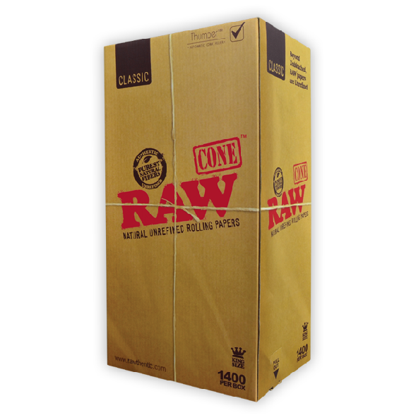 RAW Pre-Rolled Cones - Classic King Size - Box of 1400 - CORONA CASH AND CARRY