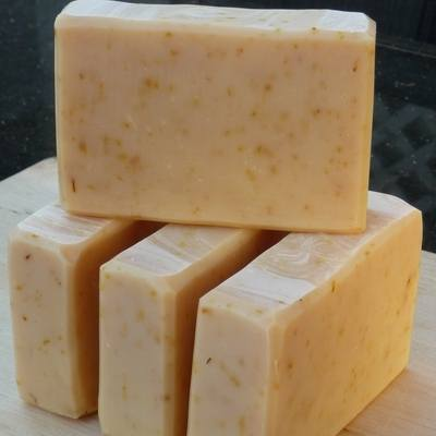 Calming calendula herbs and gentle colloidal oats make are main ingredients in this gentle goat's milk soap.