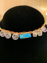 Load image into Gallery viewer, Turquoise/Clear Guitar String Bangle Bracelet