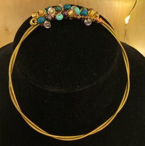 turquoise, purple, silver and gold guitar string bangle bracelet
