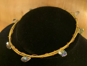 Iridescent Glass Bead Guitar String Bangle Bracelet