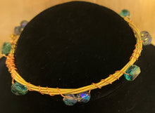 Load image into Gallery viewer, Blue Glass Bead Guitar String Bangle Bracelet