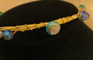 Blue Glass Bead Guitar String Bangle Bracelet