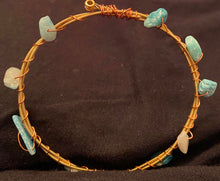 Load image into Gallery viewer, Turquoise Stone Guitar String Bangle Bracelet