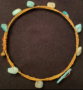 Turquoise Stone Guitar String Bangle Bracelet