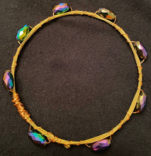 Load image into Gallery viewer, Purple and Green Guitar String Bangle Bracelet