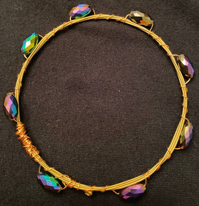 Purple and Green Guitar String Bangle Bracelet