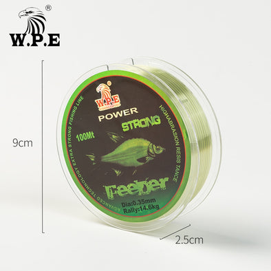 W.P.E FeeDer Nylon Fishing Line 100m 0.20mm-0.60mm Super Strong Monofilament 6.02-37kg Carp Fish Main Line Fishing Accessories