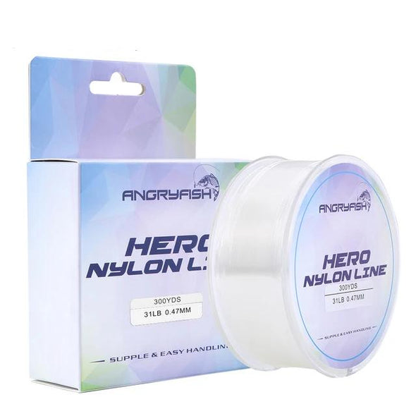 Hero Monofilament Material Super Strong Angryfish Nylon Line 300YD 0.12mm-0.47mm Nylon Fishing Line Hero Monofilament Material Super Strong