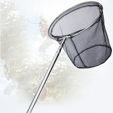 Fishing Net Extendable Positioning Stainless Steel Fishing Net Foldable Dip Net Fishing Hand Net Pocket Fishing Gear Accessories