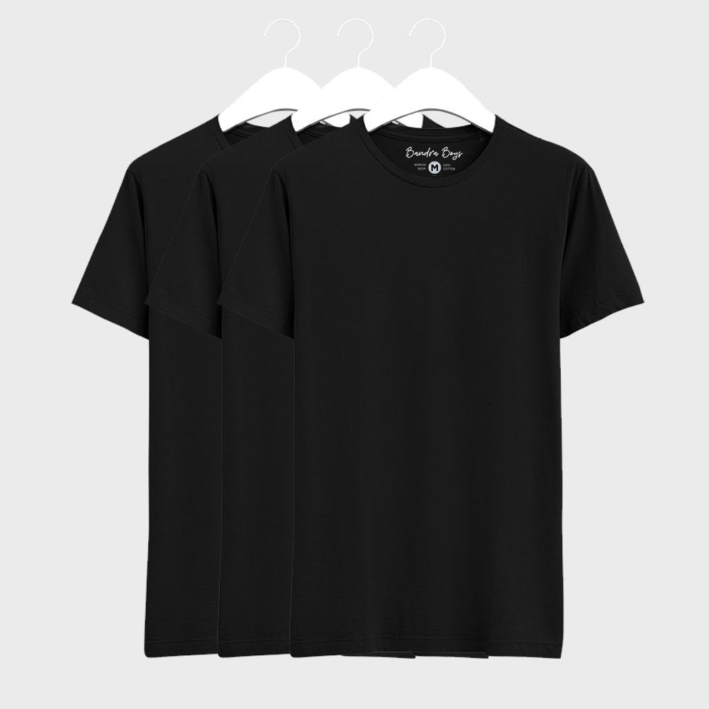 3 Combo Plain T-Shirts of Black