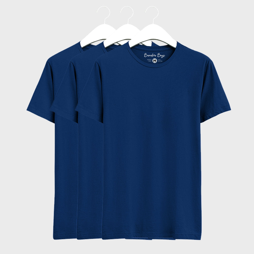 3 Combo Plain T-Shirts of Blue