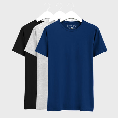 Combo Plain T-Shirts of Blue, Black & Grey