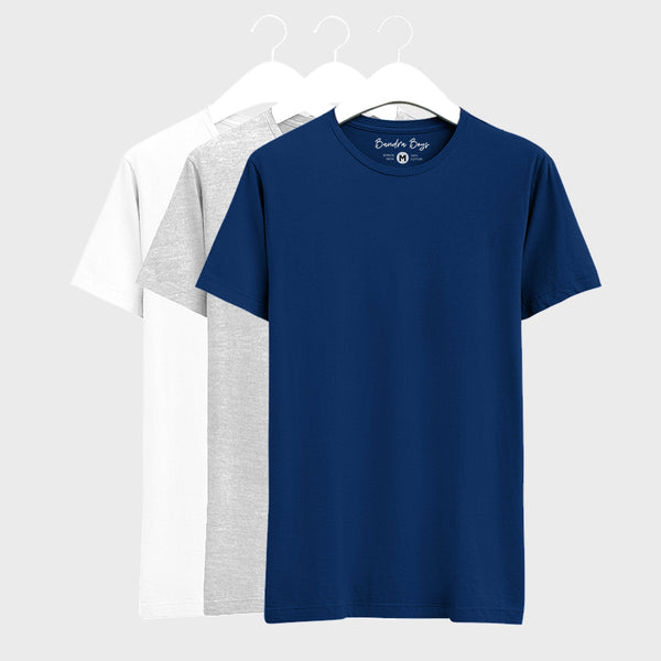 Combo Plain T-Shirts of Grey, Blue & White