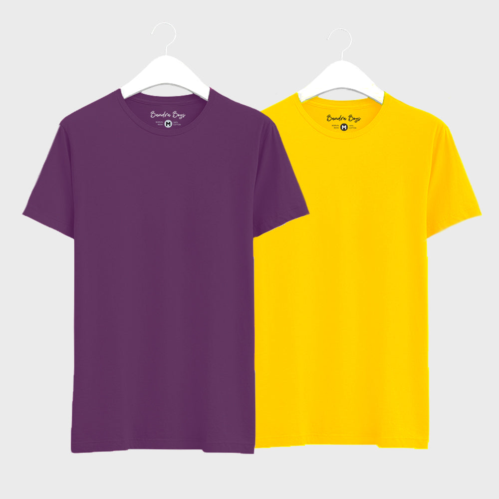 Combo Plain T-Shirts of Yellow  & Purple