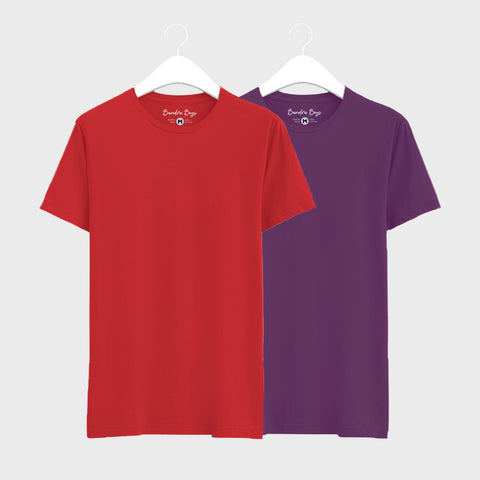 Combo Plain T-Shirts of Red  & Purple