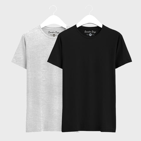 Combo T-shirts of Two Basic Round Neck of Grey & Black
