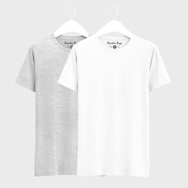 Combo T-shirts of Two Basic Round Neck of White & Grey