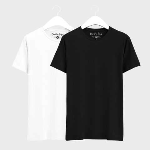 Combo T-shirts of Two Basic Round Neck of Black & White