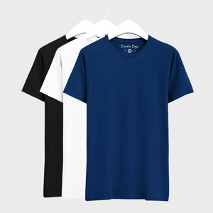 Combo Plain T-Shirts of Blue, Black & White