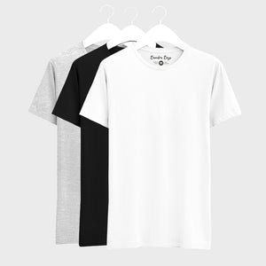 Combo Plain T-Shirts of Grey, Black & White