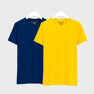 Combo Plain T-Shirts of Yellow  & Navy Blue