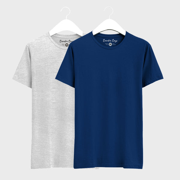 Combo T-shirts of Two Basic Round Neck of Navy Blue & Grey