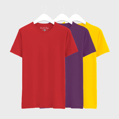 Combo Plain T-Shirts of Red, Purple & Yellow