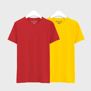 Combo Plain T-Shirts of Yellow  & Red