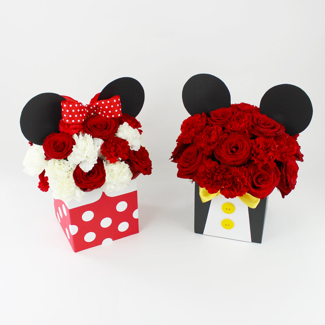 Mickey and Minnie Mouse Flower Boxes 2 arrangements set