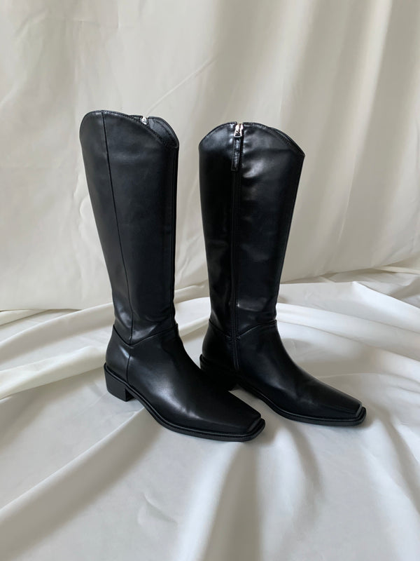 Black Square Toe Long Boots